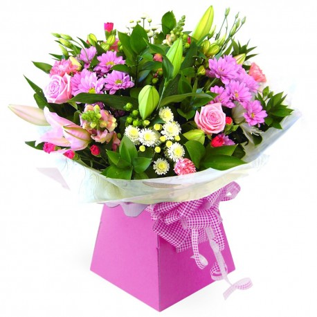 Ashleigh hand tied bouquet in a box
